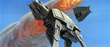 Ralph McQuarrie's inspirational painting of an AT-AT Walker on the surface of Hoth
