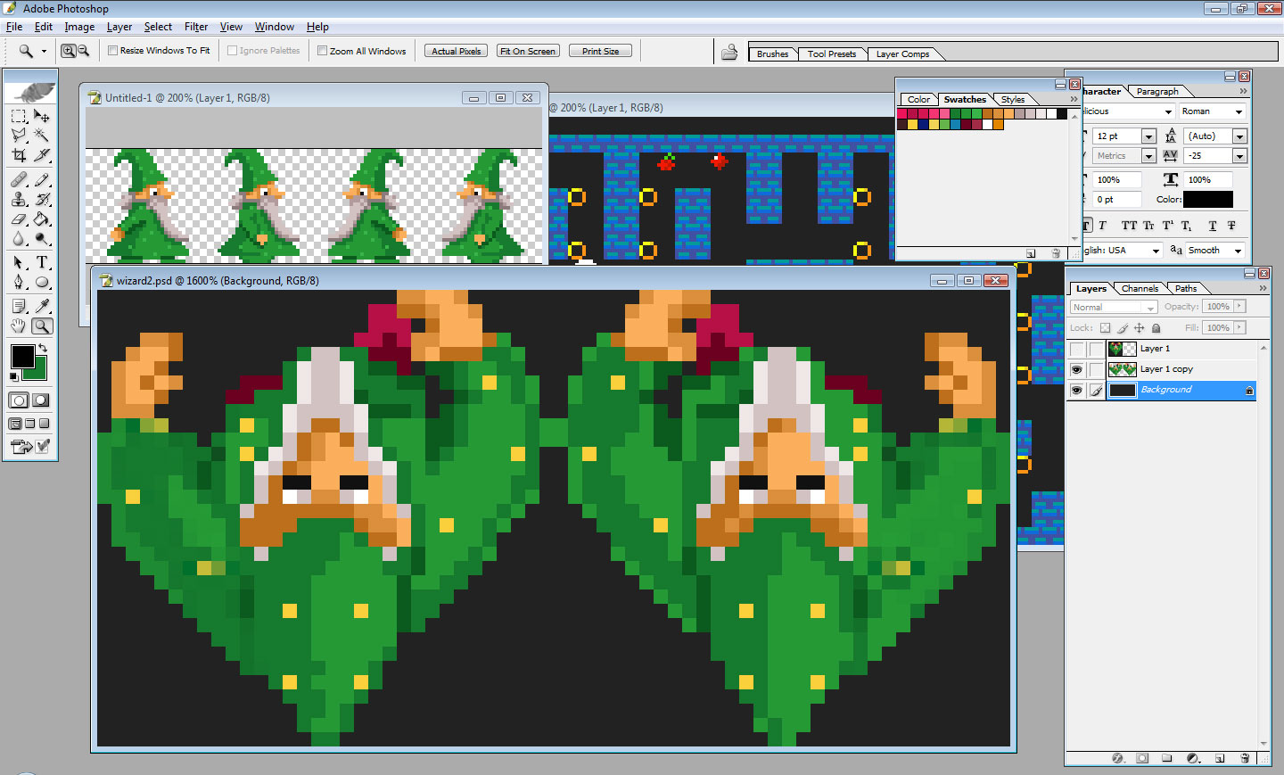 Wizard sprite animated using HTML5/Canvas and rotate() method